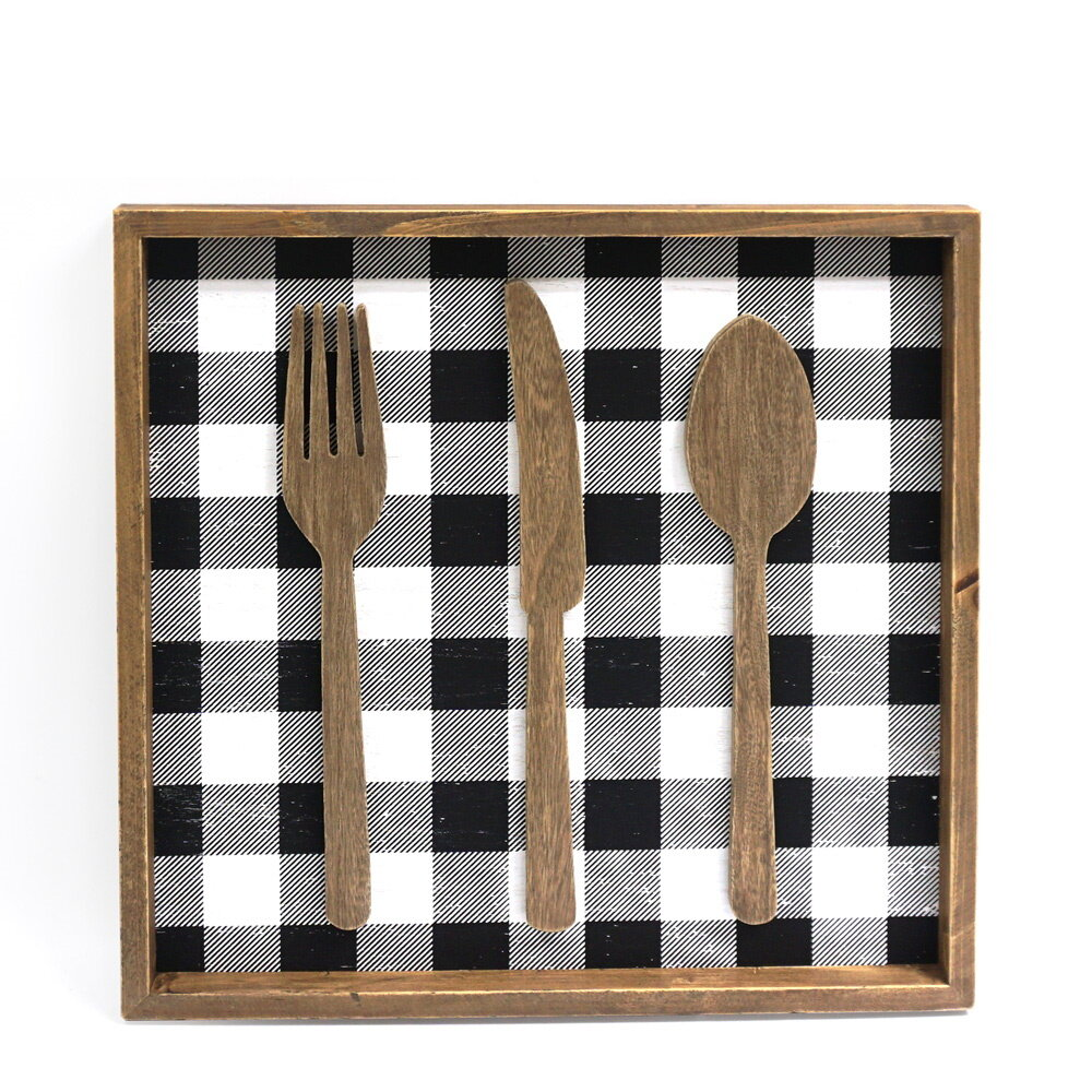 Gracie Oaks Fork Knife Spoon Wood Wall
