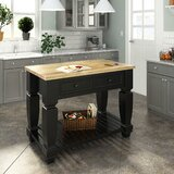 Aubuchon Kitchen Island with Wood Top by Alcott Hill®
