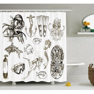 Sunni Aquatic Themed Marine Single Shower Curtain