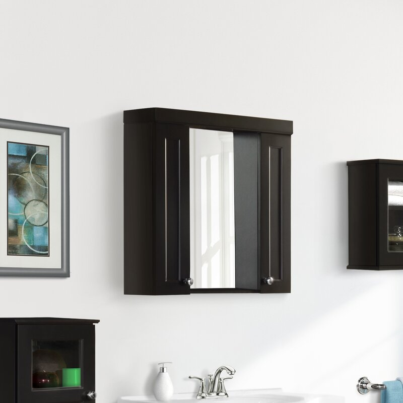 Latitude Run Surface Mount Framed 2 Doors Medicine Cabinet With 4 Adjustable Shelves And Lighting Wayfair