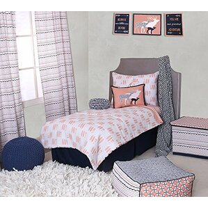 olivia tribal buck feathers triangles muslin 4 piece toddler bedding set