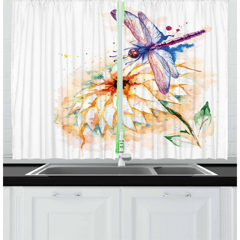 East Urban Home Dragonfly 2 Piece Kitchen Curtain Wayfair