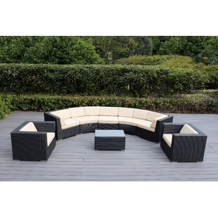 Popham 8 Piece Rattan Sectional Set with Cushions by Brayden Studio