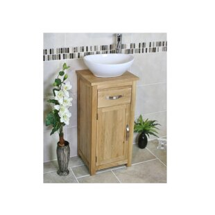 Coughlin Compact Solid Oak 400mm Free-Standing Vanity Unit By Belfry Bathroom