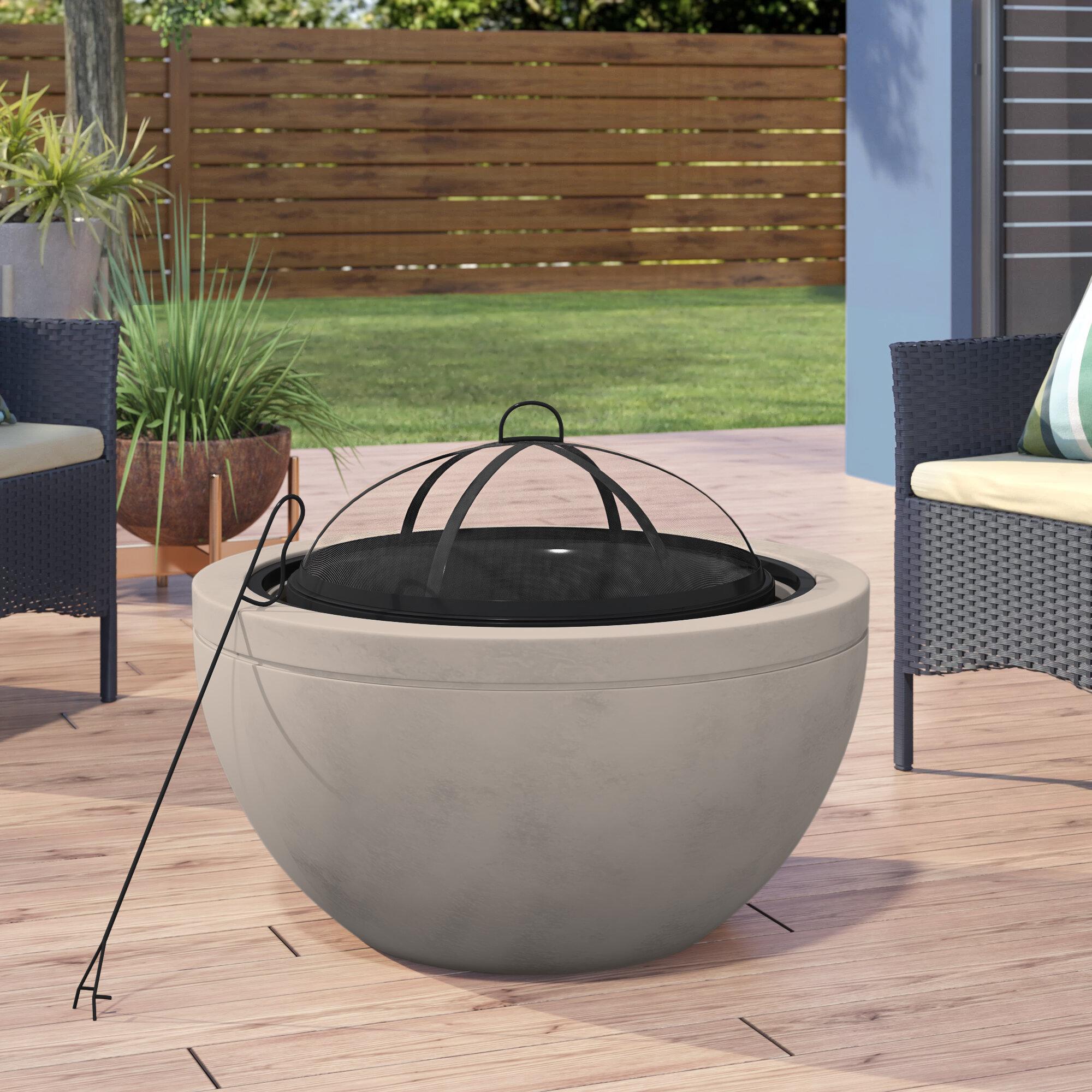Ebern Designs Colis Concrete Wood Burning Fire Pit Reviews Wayfair