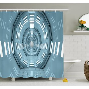 Outer Space Spaceship Earth Corridor Adventure to Cosmos UFO Lands Architecture Walls Shower Curtain Set