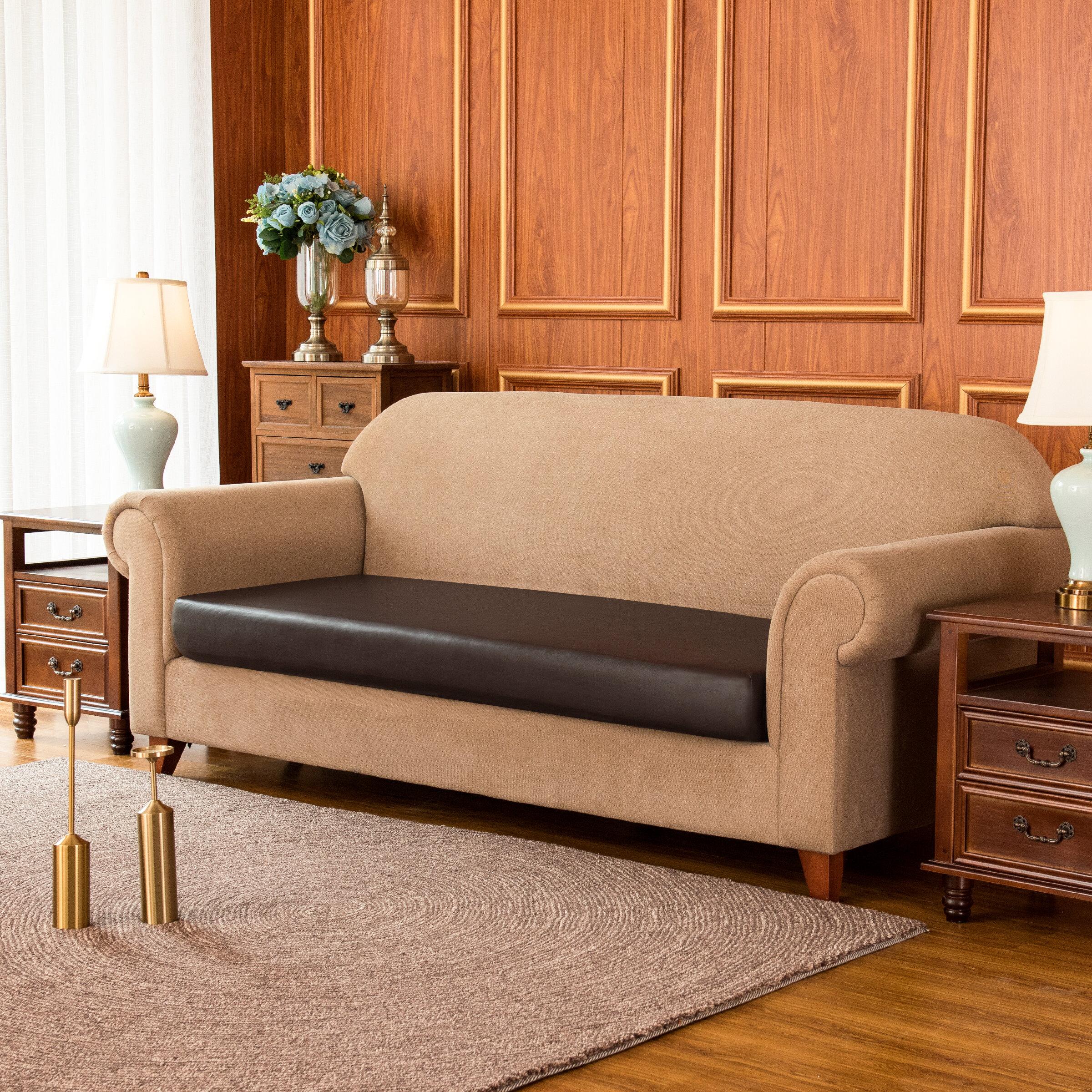 Ebern Designs Pu Leather Waterproof Box Cushion Sofa Slipcover Reviews Wayfair