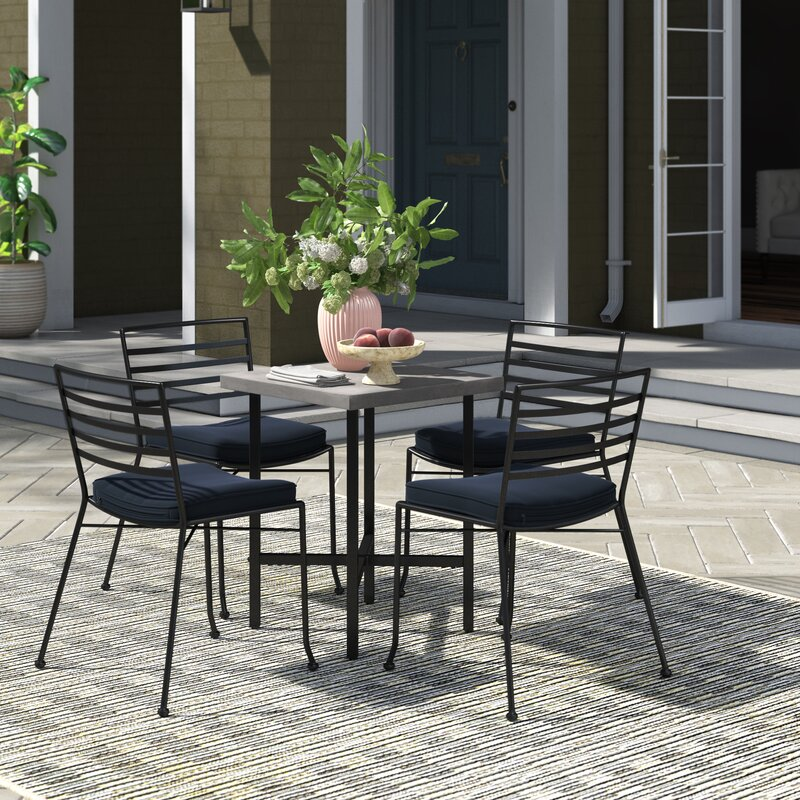 Joss & Main Liam 5 Piece Dining Set with Cushions