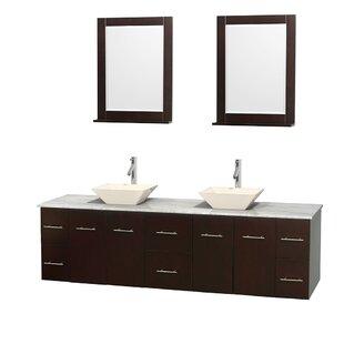Centra 80 Double Espresso Bathroom Vanity Set with Mirror