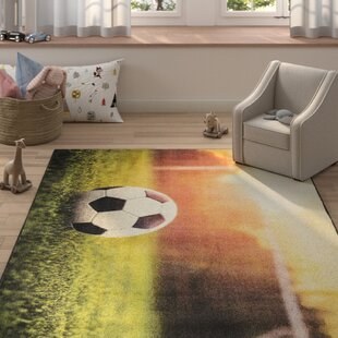 Best Choices Engler Soccer Goal Beige/Green Area Rug By Zoomie Kids