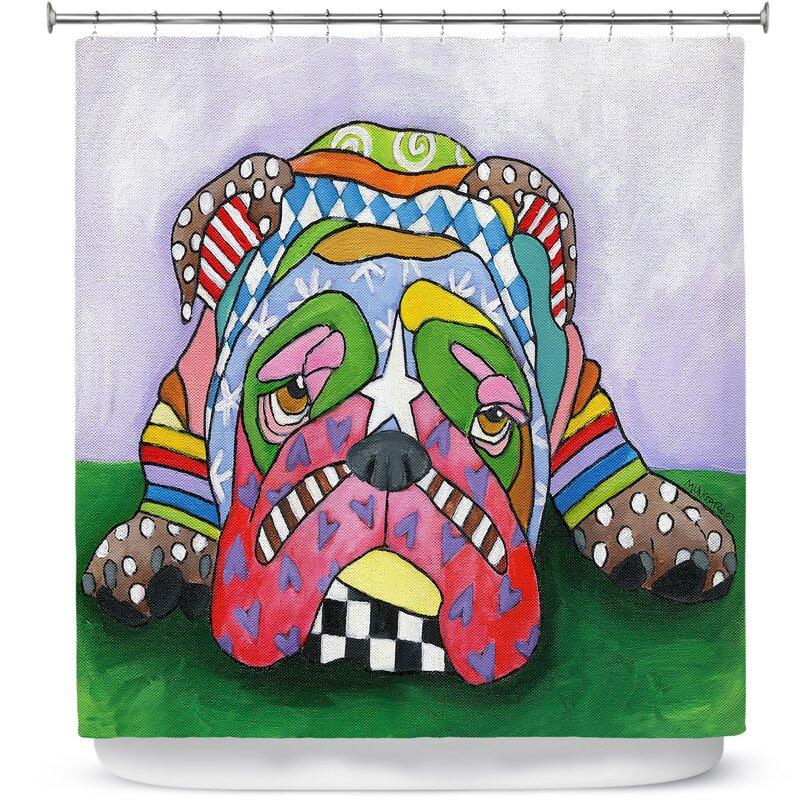 English Bulldog Shower Curtain Sad Animal Print for Bathroom