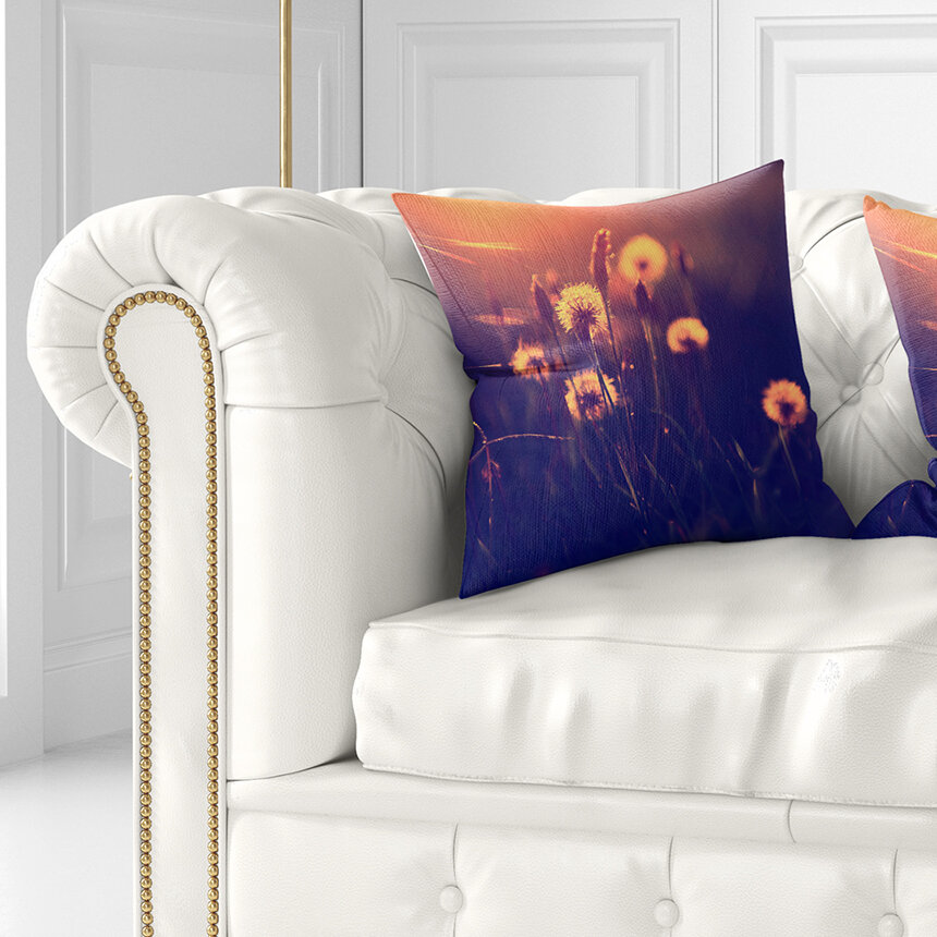 East Urban Home Floral Photo Of Dandelion Garden Pillow Wayfair