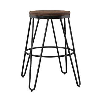 Strange Laguardia Backless Modern Wood And Metal 24 Bar Stool Set Of 4 Gamerscity Chair Design For Home Gamerscityorg