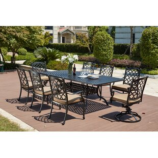 Darby Home Co Waconia Traditional 9 Piece Dining Set with Cushions