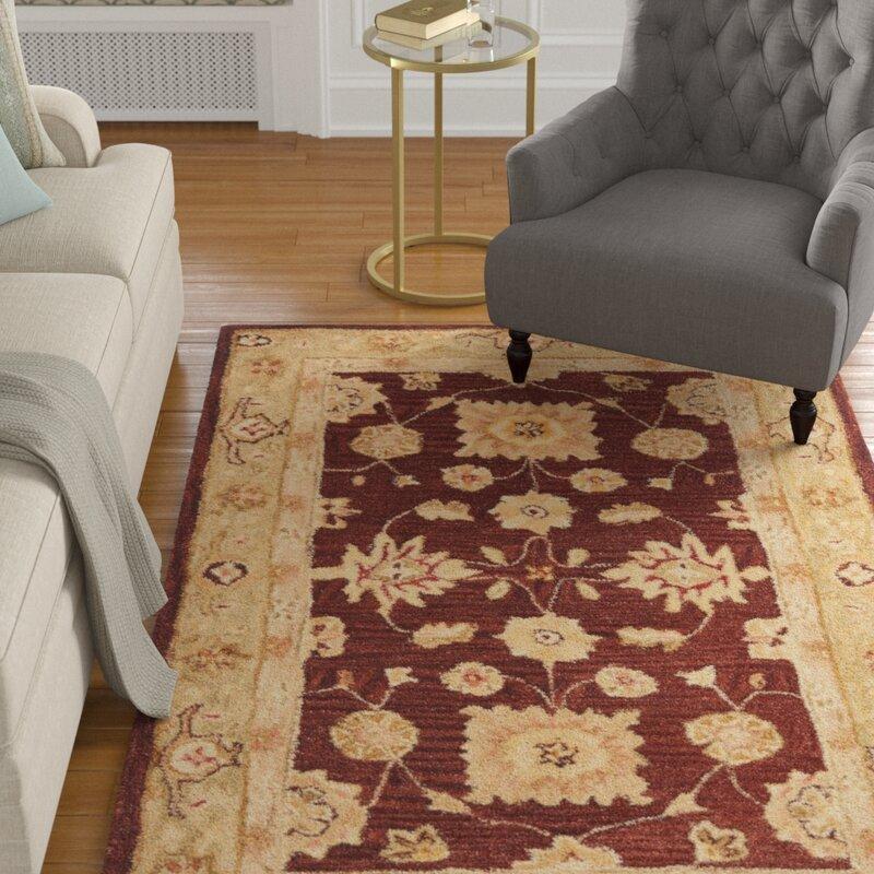 Charlton Home Tingley Floral Handmade Tufted Wool Red Sage Area Rug Reviews Wayfair