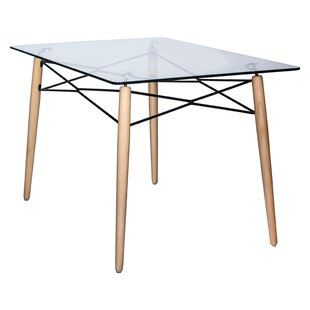 Kamron Glass Top Dining Table George Oliver