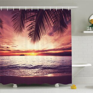 Palm Tree Tropical Beach Under Shadow At Sunset Ocean Waves Serenity In Natural Paradise Shower Curtain Set by Ambesonne No Copoun