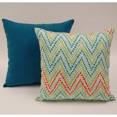 Dakotah Pillow 2 Piece Trend Spotter Knife Edge Cotton Throw Pillow Set Colour: Capri