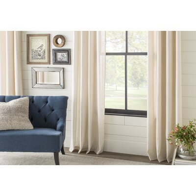 Alcott Hill Aldreda Extra Wide Solid Blackout Thermal Rod Pocket Single Curtain Panel Size per Panel: 84 L x 100 W, Color: Egg Nog