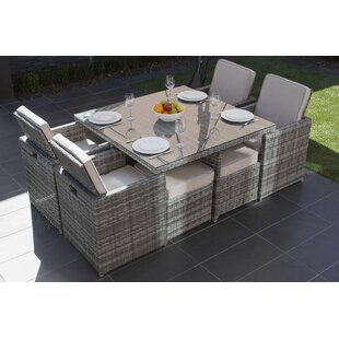 Latitude Run Alethea 9 Piece Outdoor Patio Dining Set with Cushions