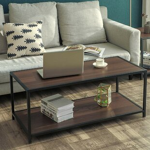 Landers Iron Frame Coffee Table with Tray Top
