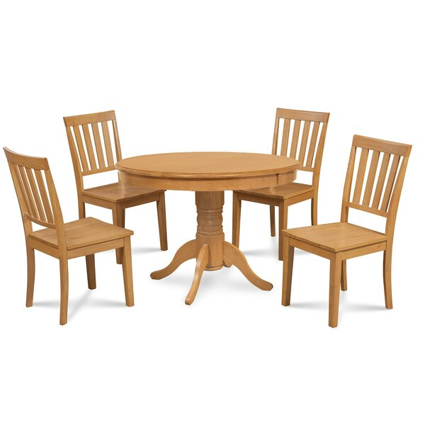 Andover Mills Montevia 5 Piece Rubber Solid Wood Dining Set Wayfair