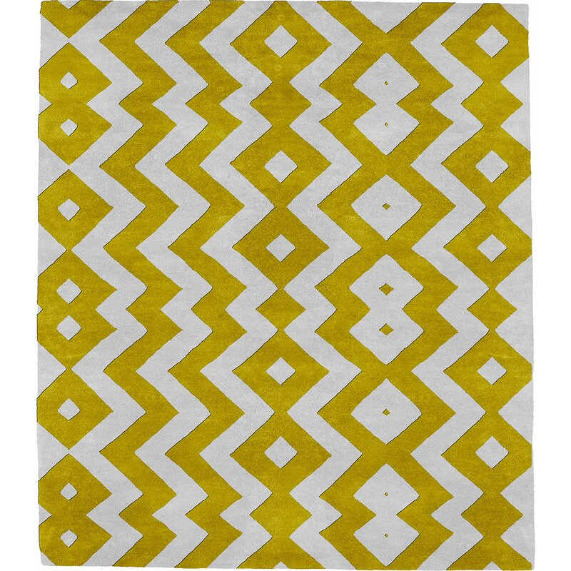 Modern Rugs Punyelroo E Signature Hand Tufted Wool Yellow Area Rug Wayfair
