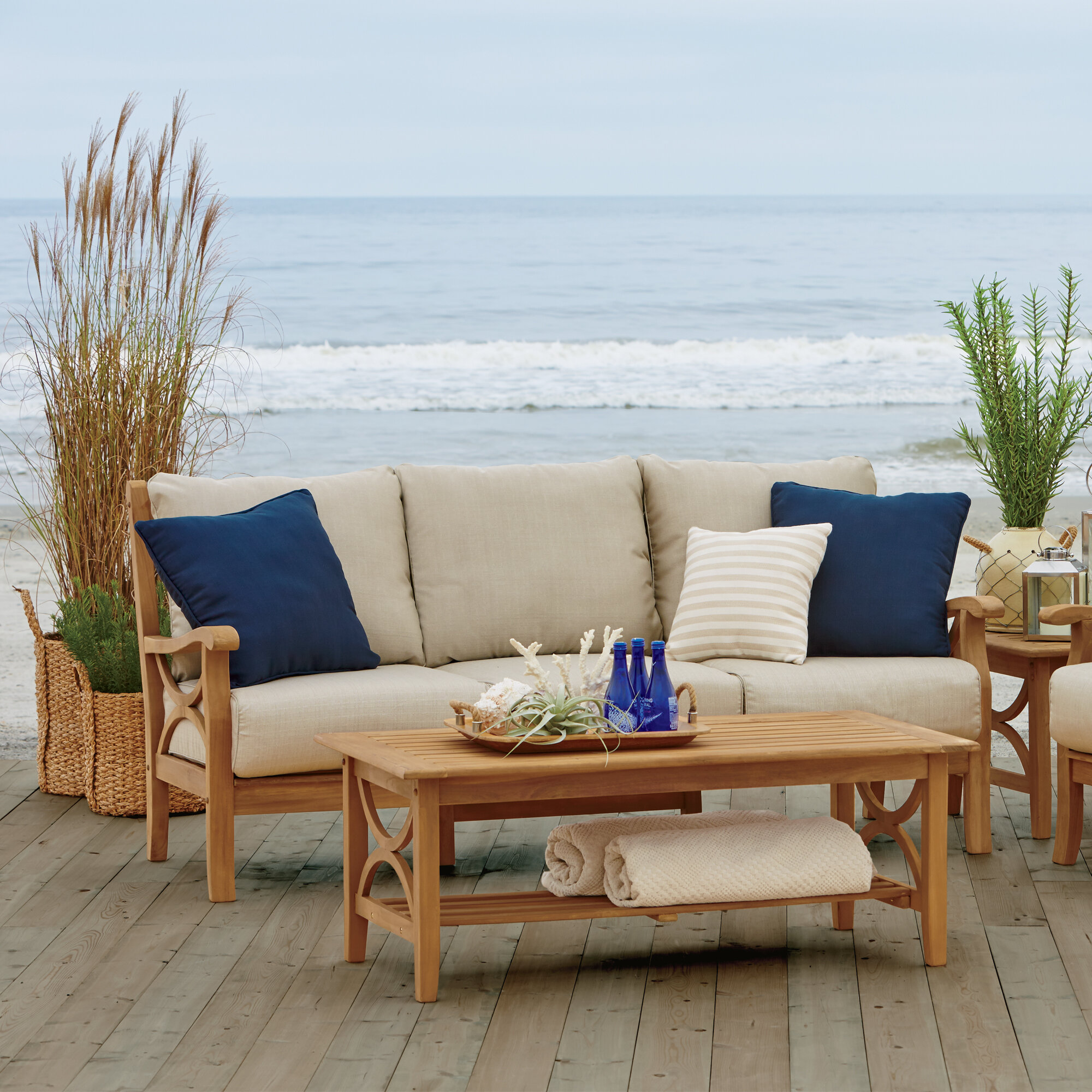 Birch Lane™ Brunswick Teak Patio Sofa With Cushions U0026 Reviews | Birch Lane