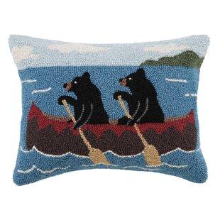 Cabin, Bear, Canoe Hook Wool Lumbar Pillow