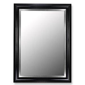 Glossy Black Grande And Satin Brushed Nickel Silver Wall Mirror