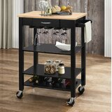 Rodriguez Kitchen Cart with Solid Wood Top by Charlton Home®