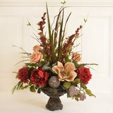 Silk Rose and Peony Flower Floral Arrangement in Decorative Vase by Canora Grey