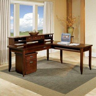 Martin Home Furnishings Tribeca Loft L-Shape Executive Desk with Hutch