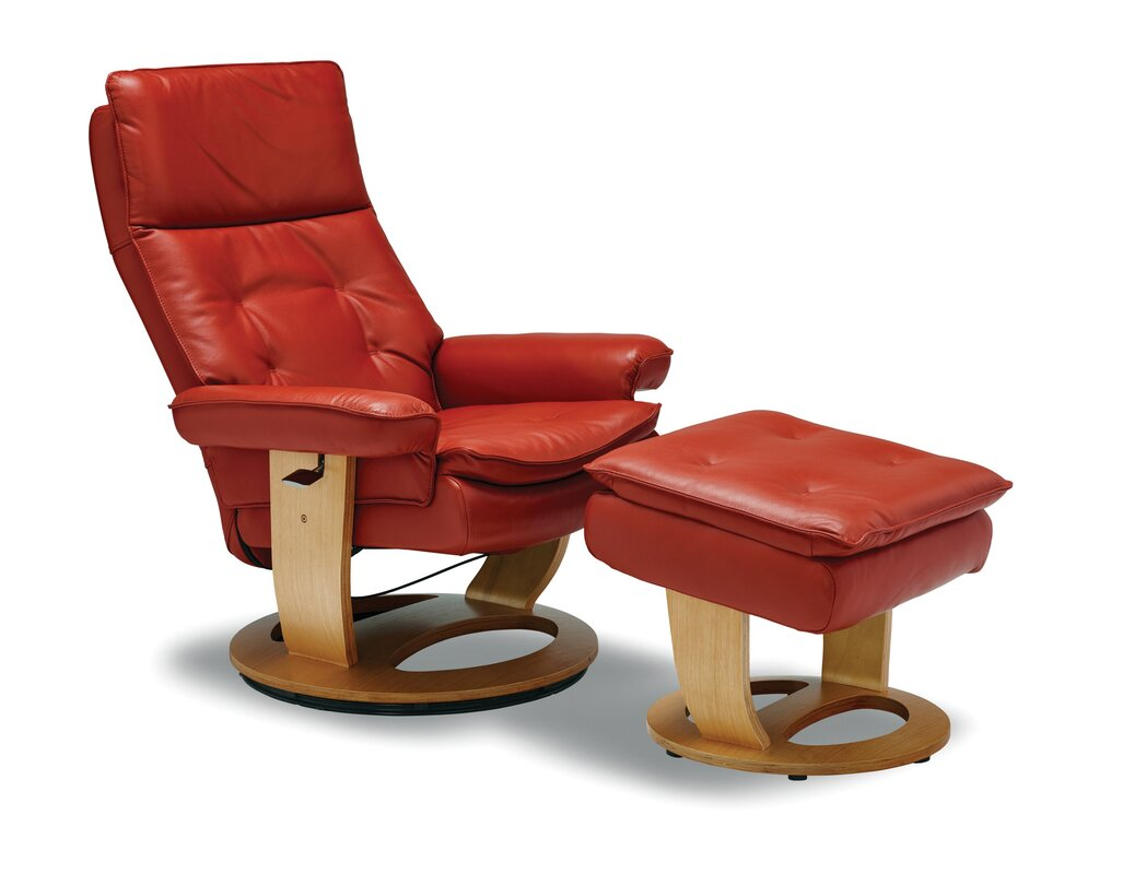 Larkins Leather Manual Recliner With Ottoman By Latitude