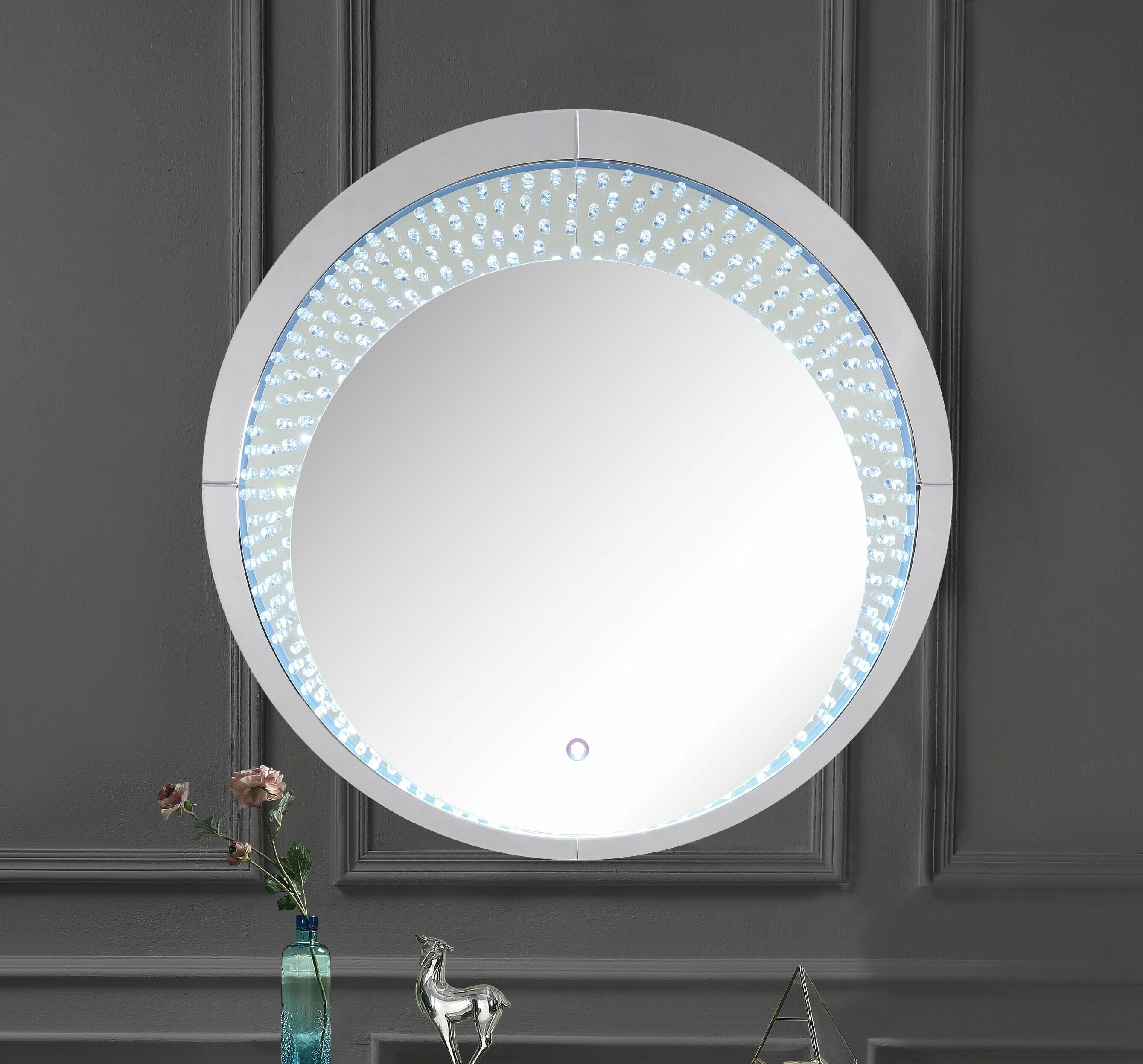 Mercer41 Phung Faux Crystals Glam Beveled Lighted Accent Mirror Wayfair