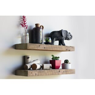 Clem Reclaimed Barn Wood Floating Accent Wall Shelf (Set of 2) by Williston Forge