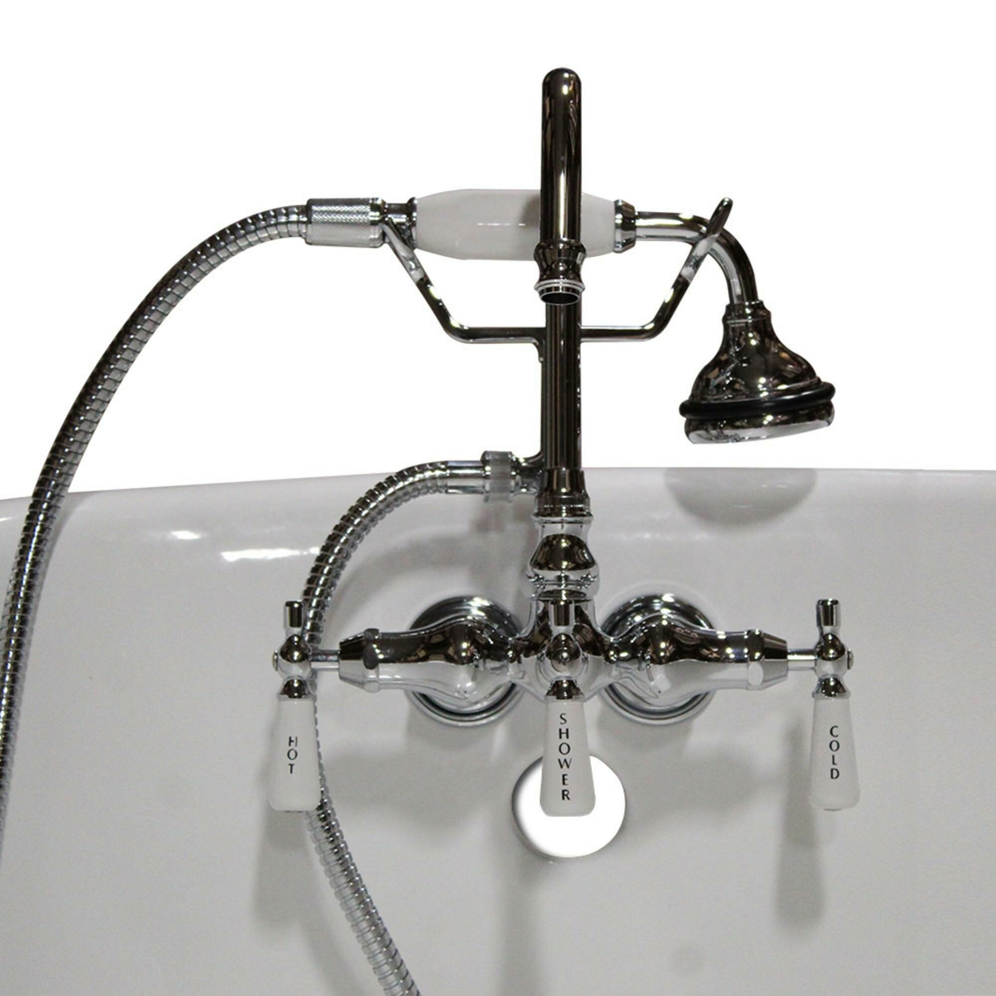 Cambridge Plumbing Clawfoot Wall Mount Brass Tub Faucet With Hand