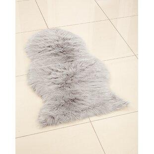 Faux Sheepskin Silver Rug