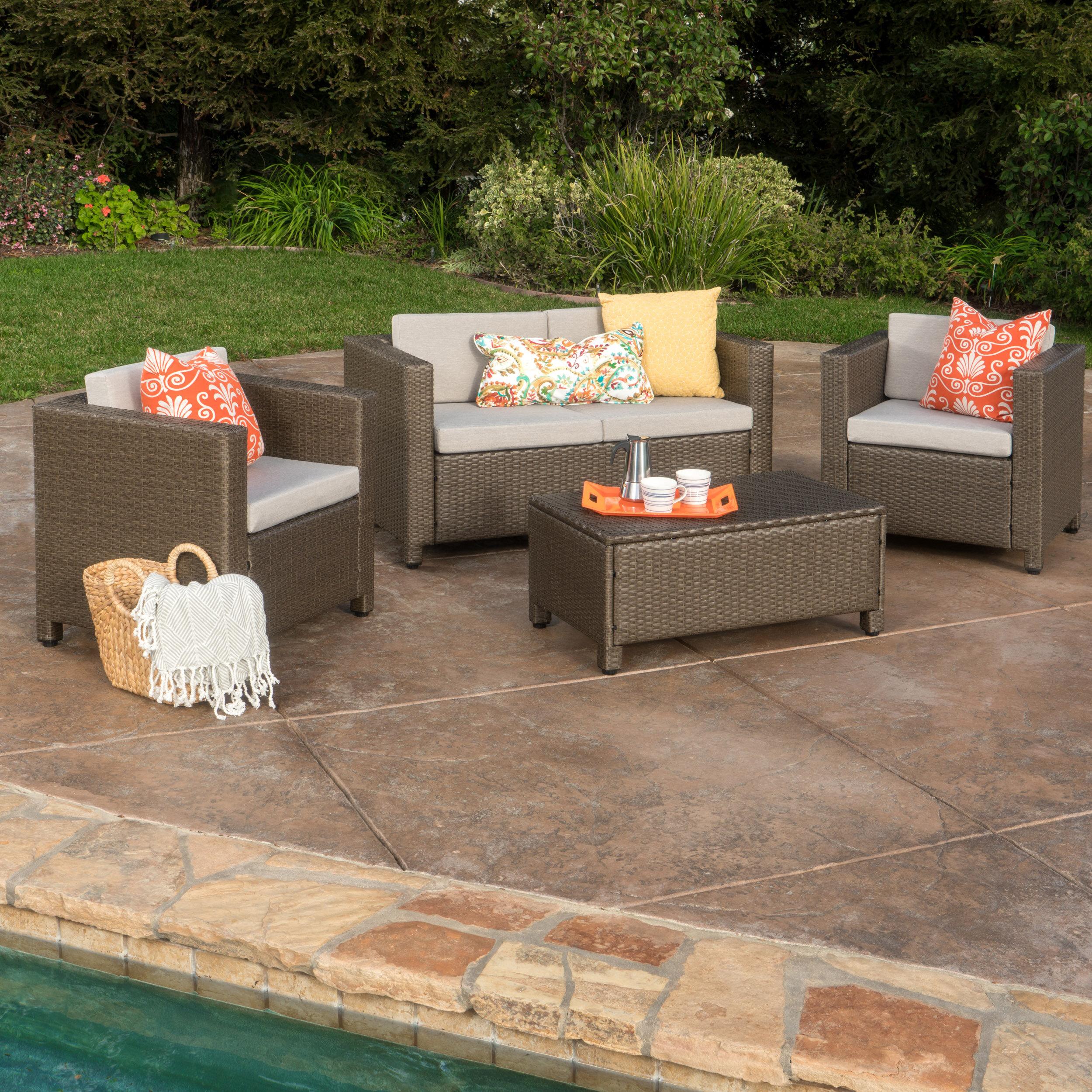 Mercury Row Ka 4 Piece Rattan Sofa Set With Cushions Reviews Wayfair