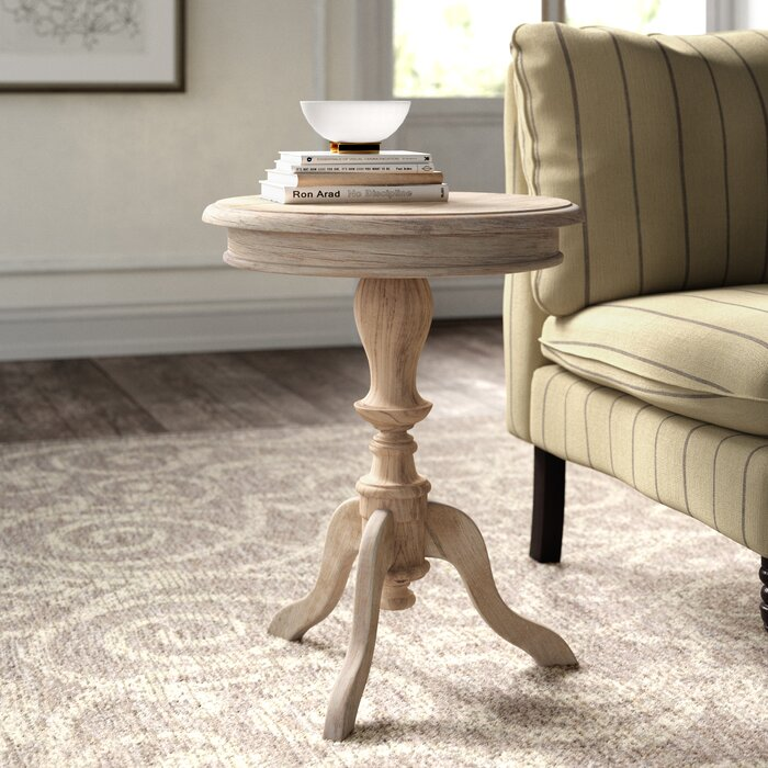 Corsair Solid Wood Pedestal End Table