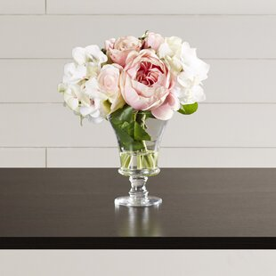 Faux Rose and Hydrangea Bouquet in Pedestal Glass Vase