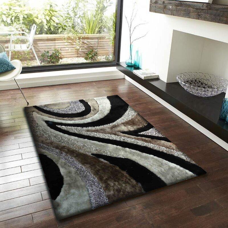 Ebern Designs Thurber Hand Tufted Gray Black Area Rug Wayfair