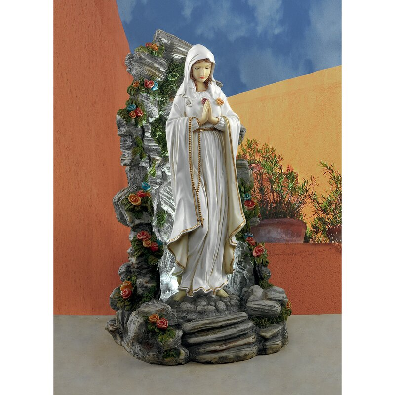 Blessed Virgin Mary Illuminated Garden Grotto Statue