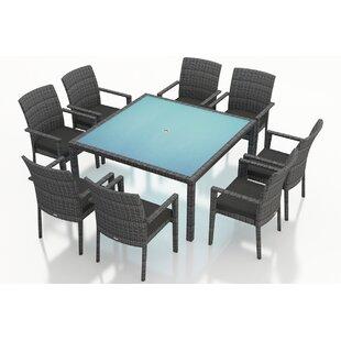 Harmonia Living District 9 Piece Sunbrella Dining Set with Cushions