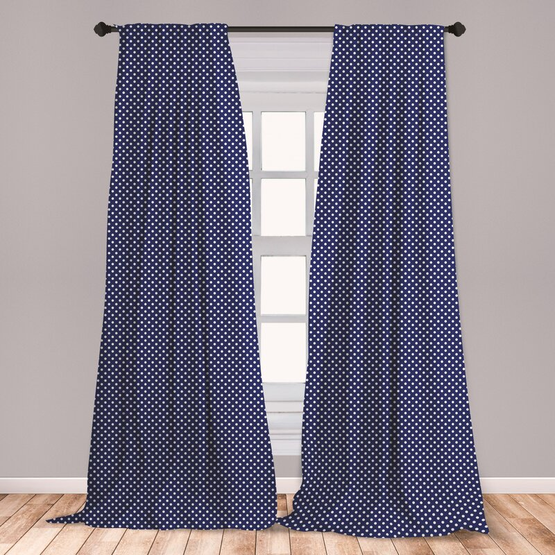 East Urban Home Ambesonne Navy Blue Curtains Old Fashioned Polka Dots Pattern In Marine Colors Retro Nautical Inspiration Window Treatments 2 Panel Set For Living Room Bedroom Decor 56 X 63 Navy