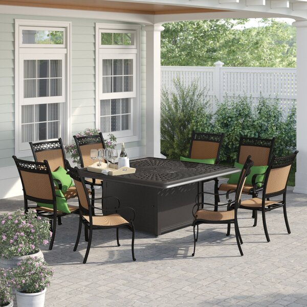 Sol 72 Outdoor Curacao 9 Piece Metal Frame Dining Set With Firepit Wayfair