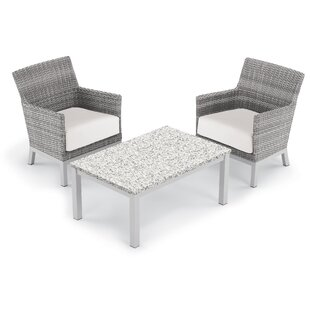 Brayden Studio Saint-Pierre 3 Piece Club Rattan Conversation Set with Cushions