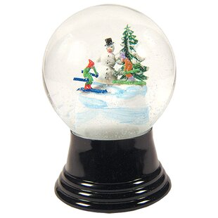 snowman and skier snow globe - Large Christmas Snow Globes