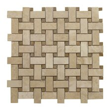 Review Light Filled Basketweave Noce Dot 1 x 2 Travertine Mosaic Tile in Honed by Seven Seas