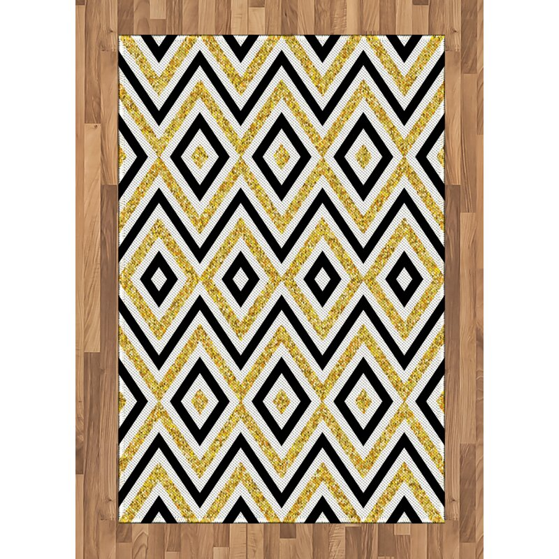 Zig Zag And Squares Yellow Area Rug